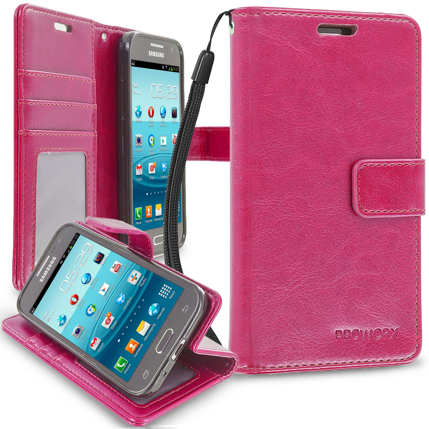 Samsung Galaxy Prevail LTE Core Prime G360P Hot Pink ProWorx Wallet Case Luxury PU Leather Case Cover With Card Slots & Stand