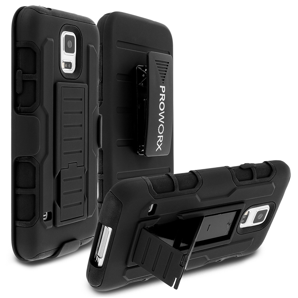 Samsung Galaxy S5 Black ProWorx Heavy Duty Shock Absorption Armor Defender Holster Case Cover With Belt Clip
