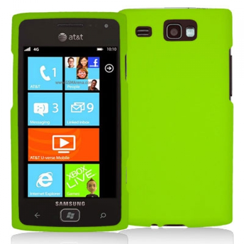 Samsung Focus Flash i677 Neon Green Hard Rubberized Case Cover