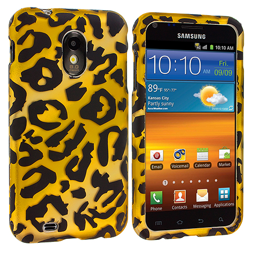 Samsung Epic Touch 4G D710 Sprint Galaxy S2 Black Leopard on Yellow Hard Rubberized Design Case Cover