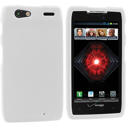 Motorola Droid Razr Maxx XT910 White Hard Rubberized Case Cover
