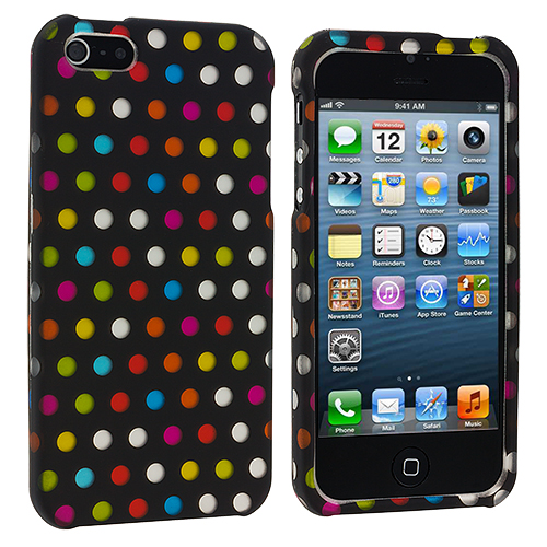 Apple iPhone 5 Colorful dots on Black Hard Rubberized Design Case Cover