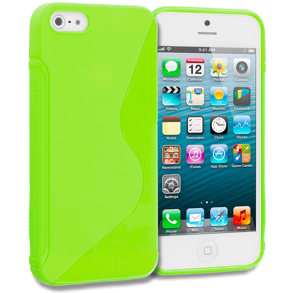 Apple iPhone 5/5S/SE Combo Pack : Green S-Line Solid TPU Rubber Skin Case Cover : Color Green S-Line Solid