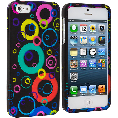 Apple iPhone 5 Colorful Bubbles Hard Rubberized Design Case Cover