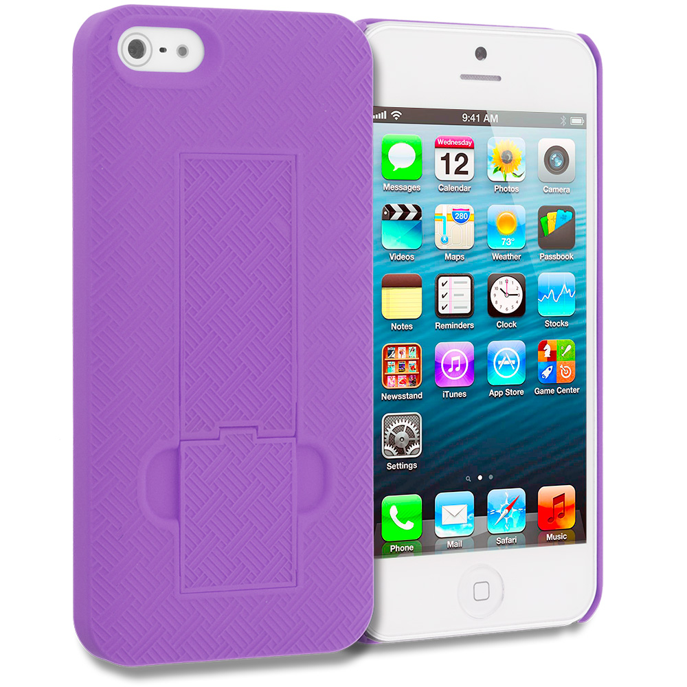 Apple iPhone 5/5S/SE Combo Pack : Orange Grid Texture w/ Stand Hard Rubberized Back Cover Case : Color Purple Grid Texture w/ Stand