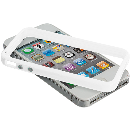 Apple iPhone 4 / 4S 2 in 1 Combo Bundle Pack - Solid White Pink TPU Bumper with Metal Buttons : Color Solid White