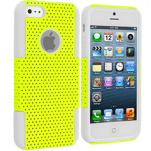 Apple iPhone 5/5S/SE Combo Pack : White / Neon Green Hybrid Mesh Hard/Soft Case Cover : Color White / Yellow