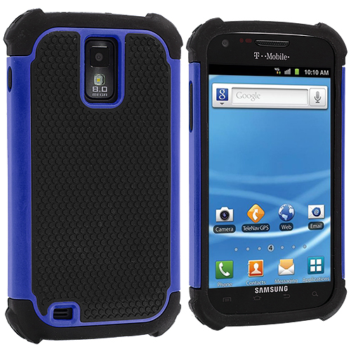 Samsung Hercules T989 T-Mobile Galaxy S2 Blue Hybrid Rugged Hard/Soft Case Cover