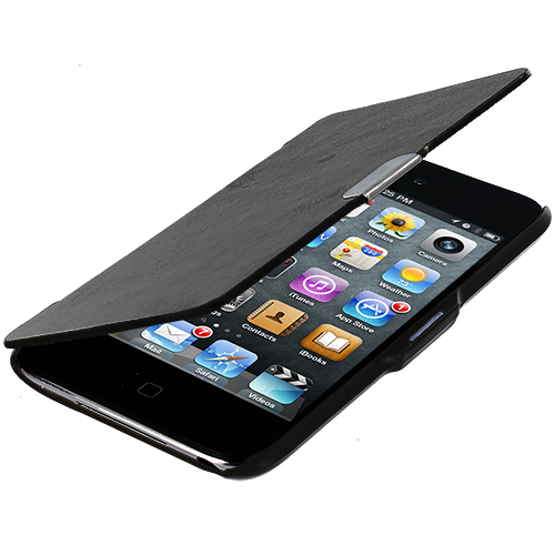 Apple iPod Touch 4th Generation Black Texture Magnetic Wallet Case Cover Pouch