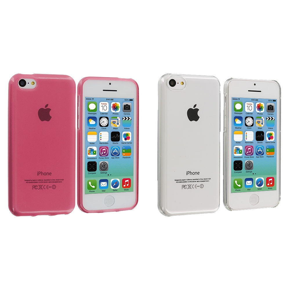 Apple iPhone 5C 2 in 1 Combo Bundle Pack - Clear Pink Transparent Crystal Hard Back Cover Case