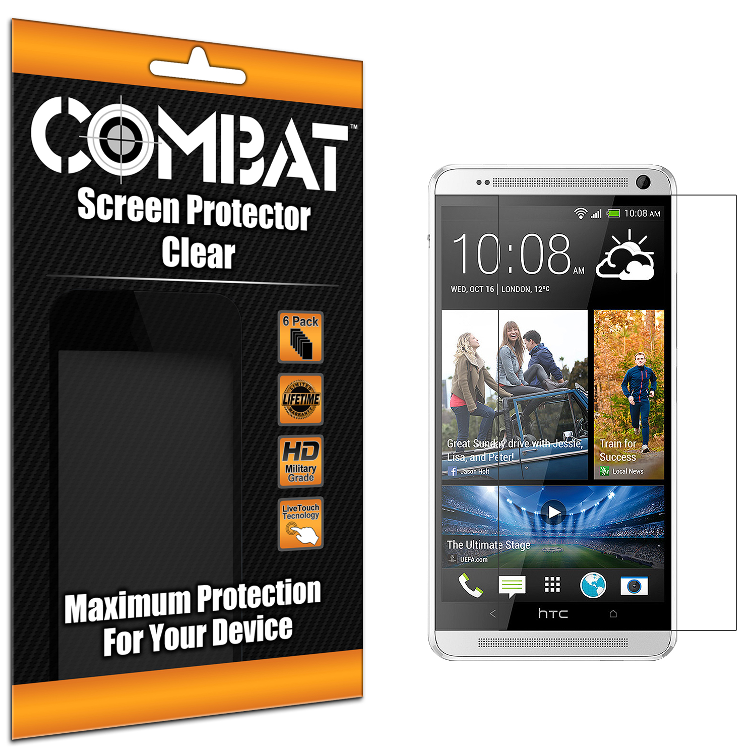 HTC One Max Combat 6 Pack HD Clear Screen Protector