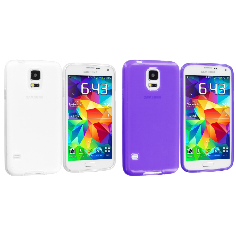 Samsung Galaxy S5 2 in 1 Combo Bundle Pack - Clear Purple Transparent TPU Rubber Skin Case Cover