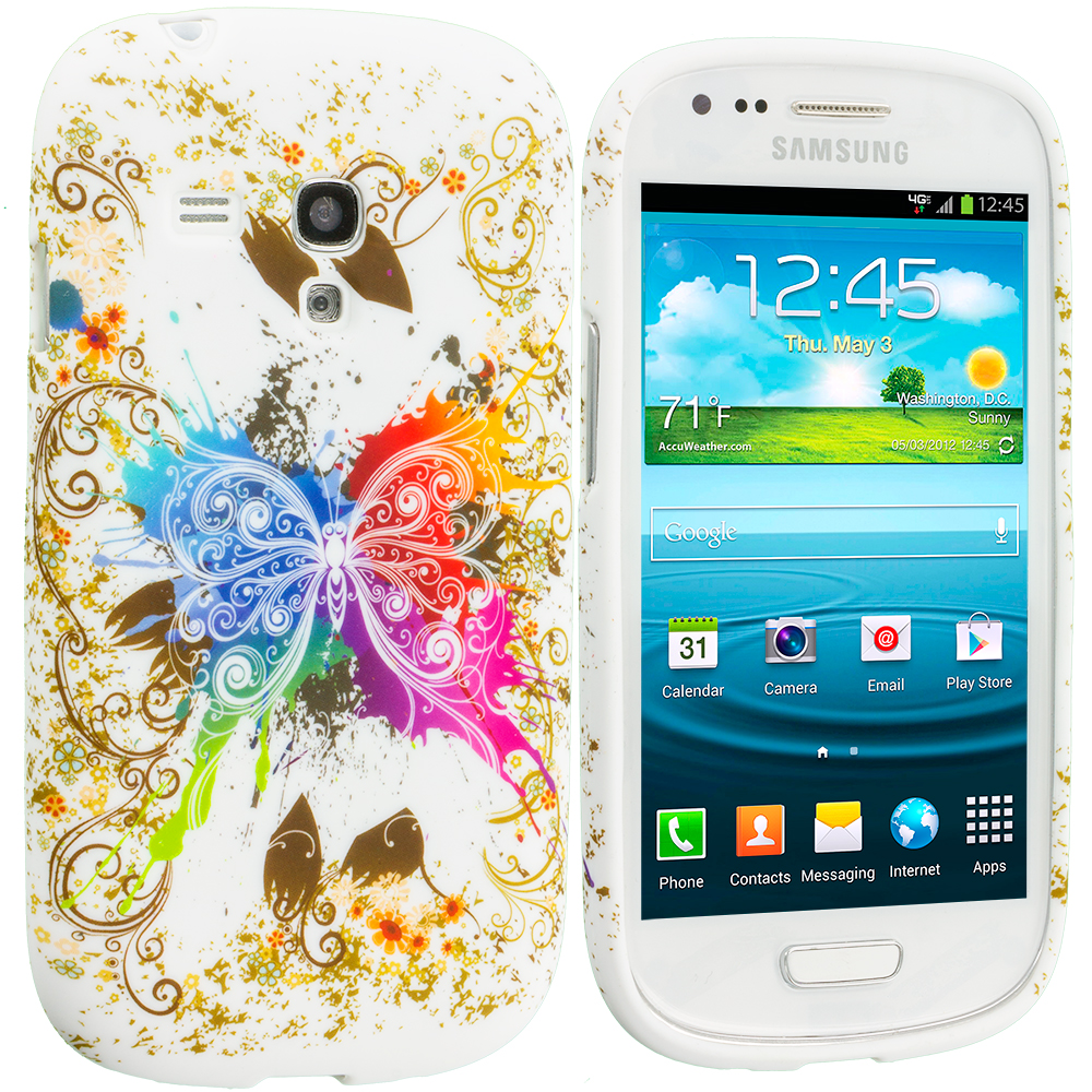 Samsung Galaxy S3 Mini i8190 Colorful Butterfly TPU Design Soft Case Cover
