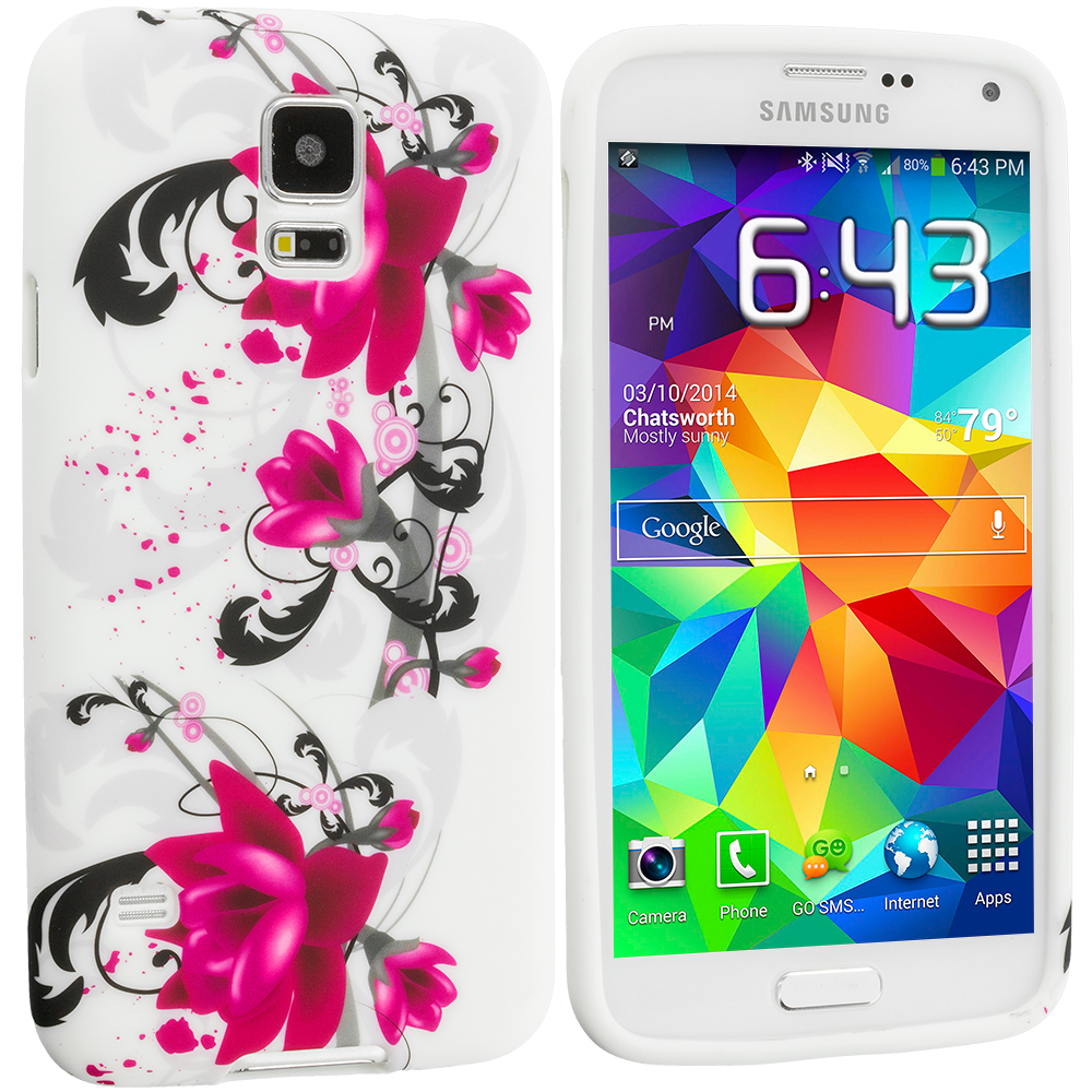 Samsung Galaxy S5 Pink Flower TPU Design Soft Case Cover