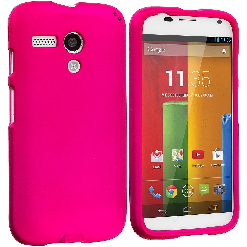 Motorola Moto G 2 in 1 Combo Bundle Pack - Black Pink Hard Rubberized Case Cover : Color Hot Pink