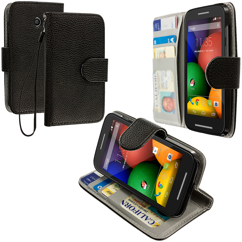Motorola Moto E Black Leather Wallet Pouch Case Cover with Slots