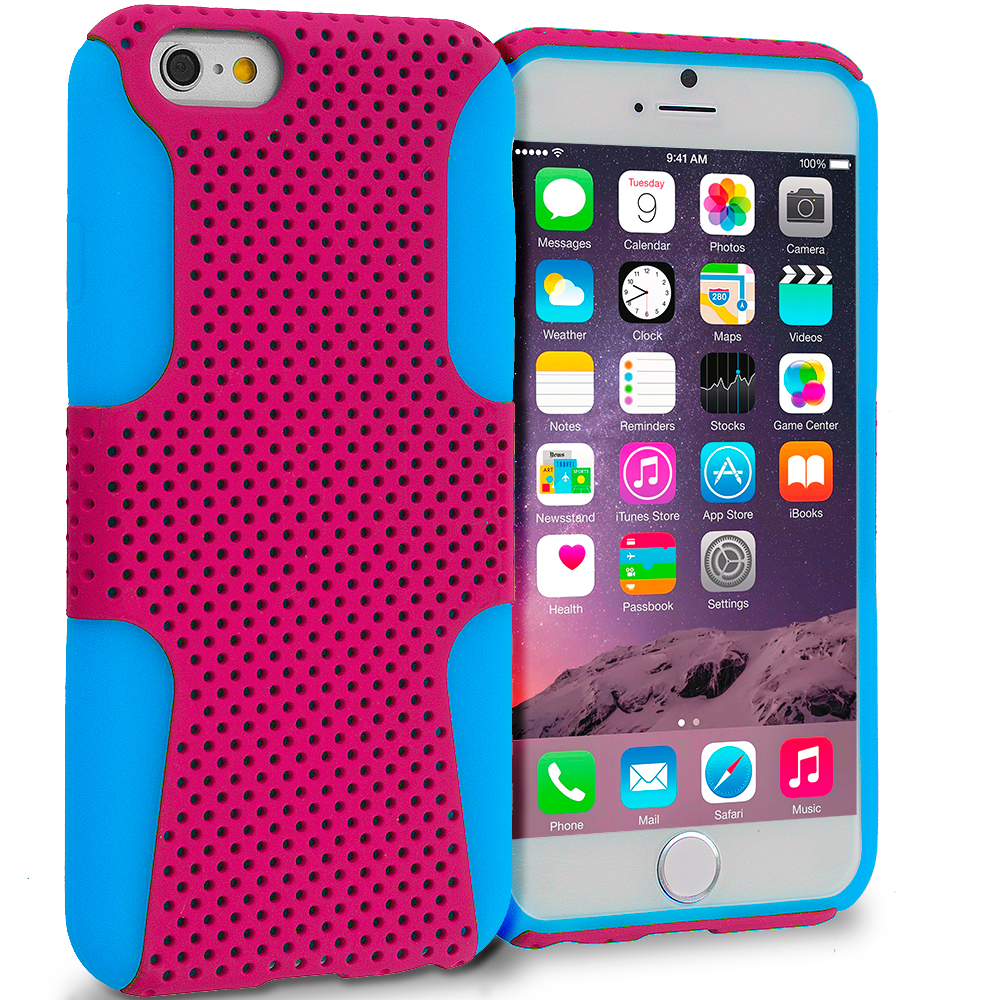 Apple iPhone 6 5 in 1 Bundle - Hybrid Mesh Hard/Soft Case Cover : Color Baby Blue / Hot Pink