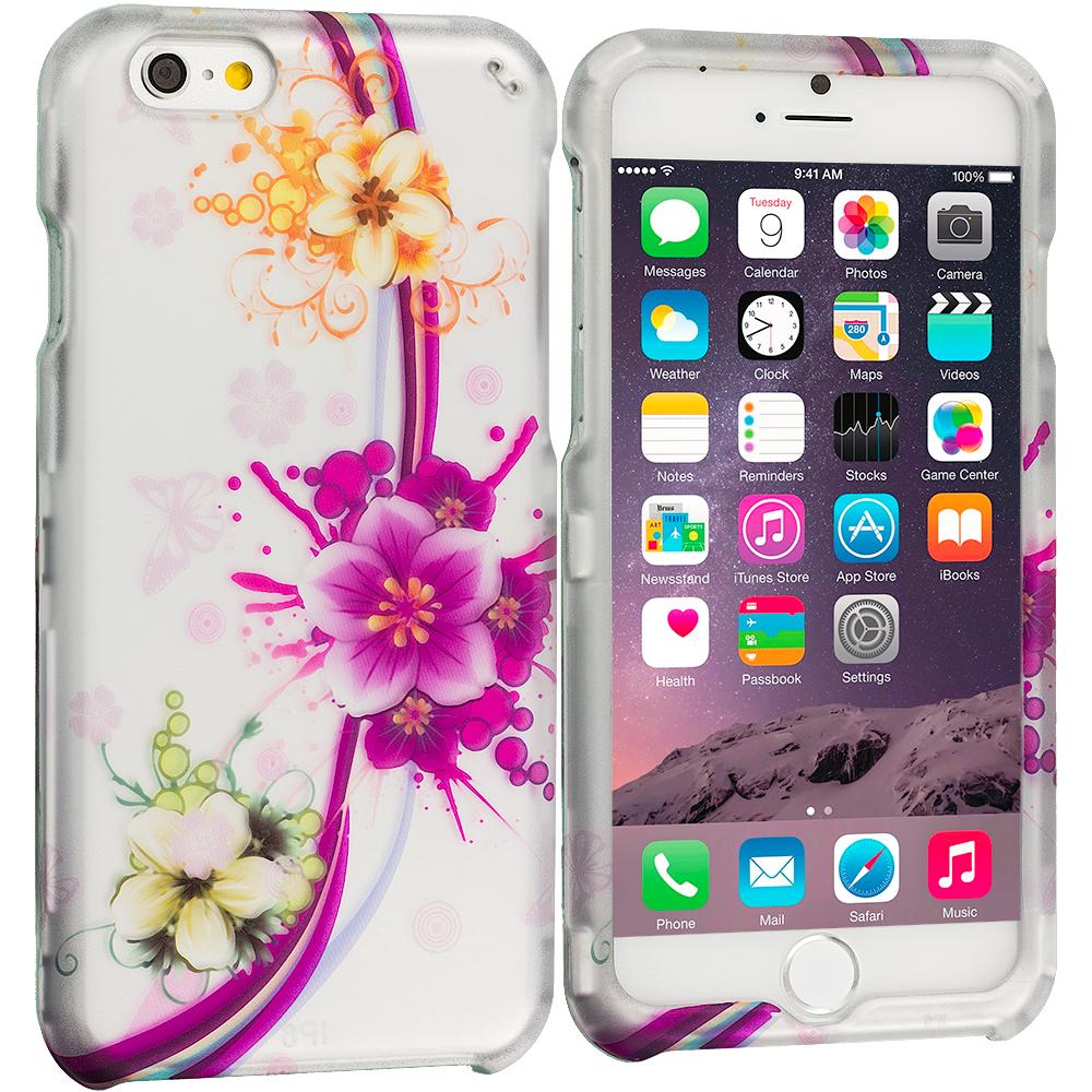 Apple iPhone 6 Plus 6S Plus (5.5) Purple Flower Chain 2D Hard Rubberized Design Case Cover