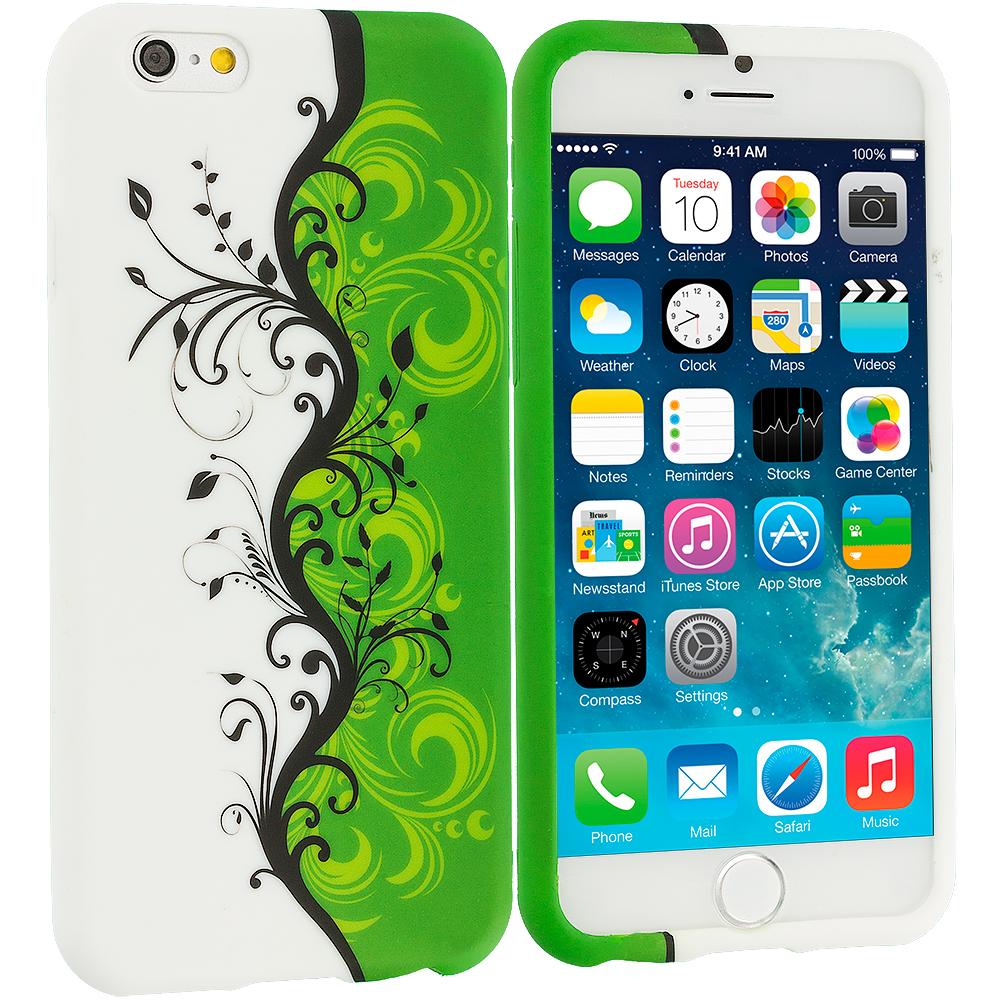 Apple iPhone 6 Plus 6S Plus (5.5) Green / White Swirl TPU Design Soft Rubber Case Cover
