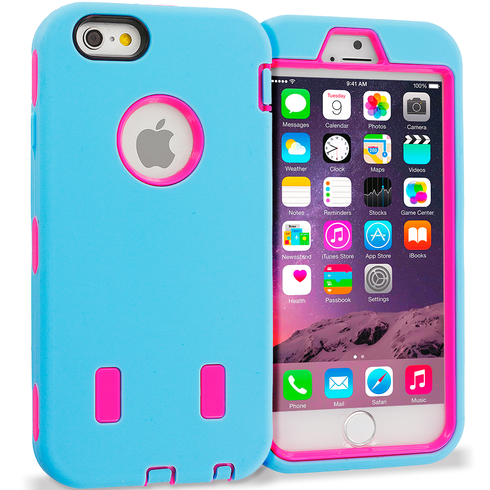 Apple iPhone 6 Plus 6S Plus (5.5) Baby Blue / Hot Pink Hybrid Deluxe Hard/Soft Case Cover