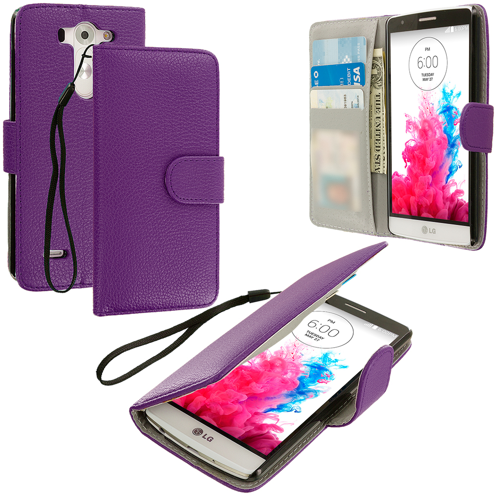 LG G3 Vigor D725 G3s Purple Leather Wallet Pouch Case Cover with Slots