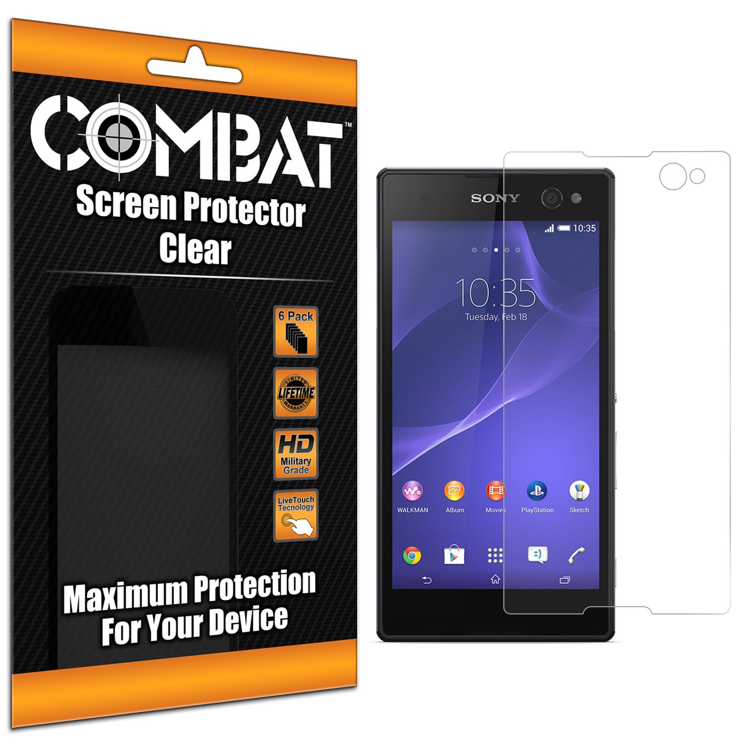 Sony Xperia C3 Combat 6 Pack HD Clear Screen Protector