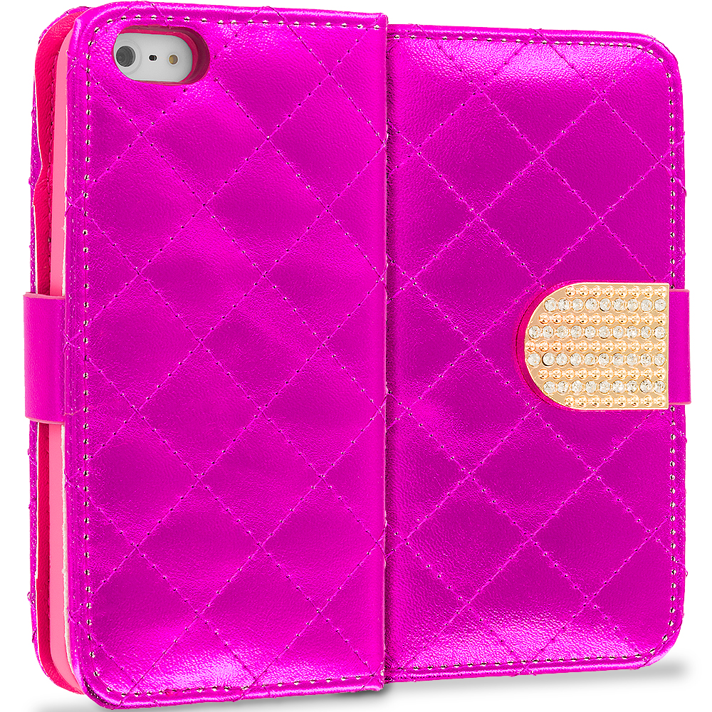 Apple iPhone 5/5S/SE Hot Pink Luxury Wallet Diamond Design Case Cover With Slots