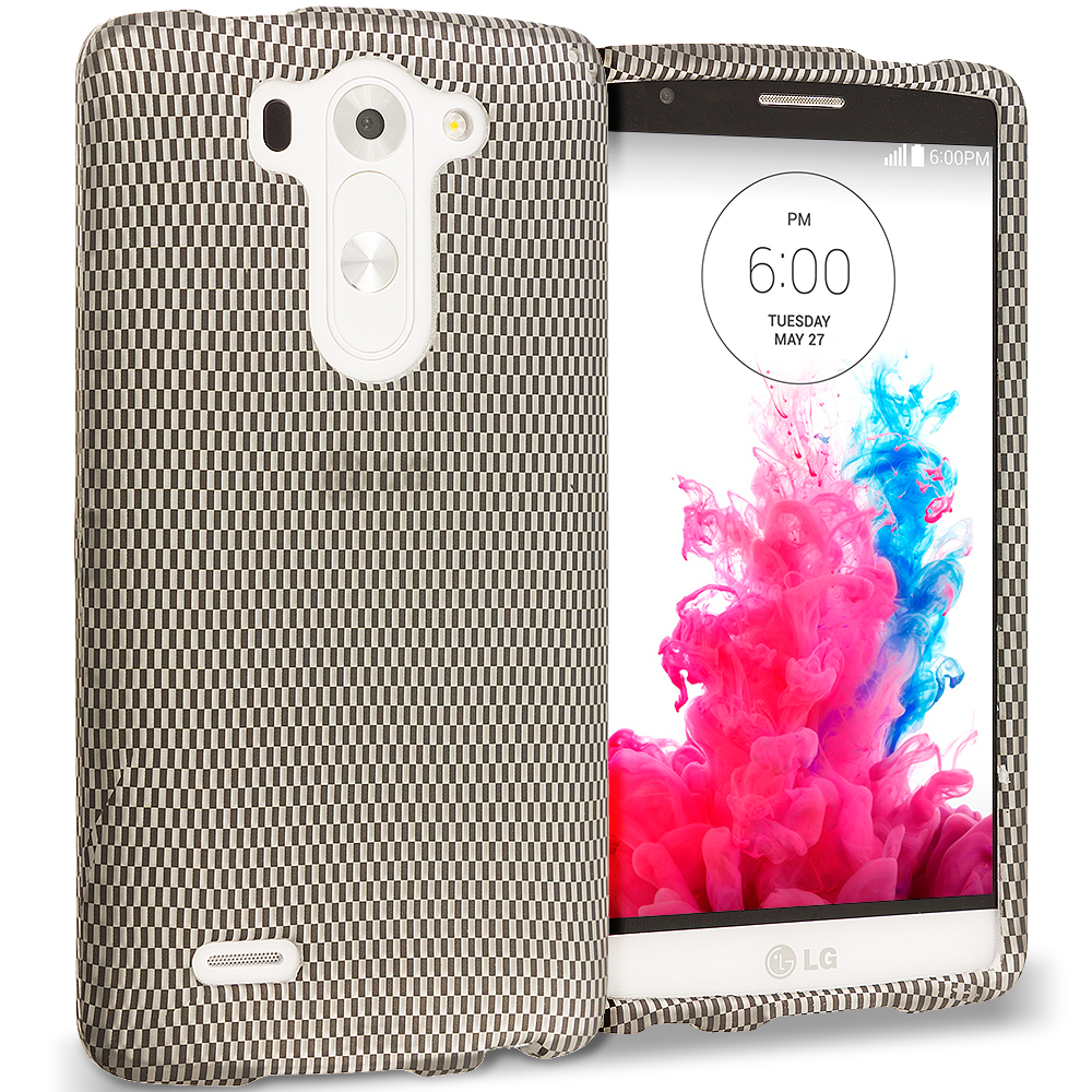 LG G3 Vigor D725 G3s Carbon Fiber 2D Hard Rubberized Design Case Cover