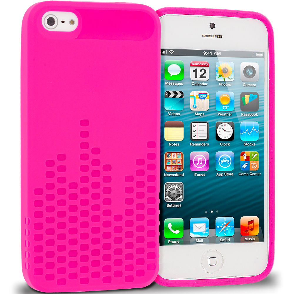 Apple iPhone 5/5S/SE Hot Pink TPU Design Soft Rubber Case Cover