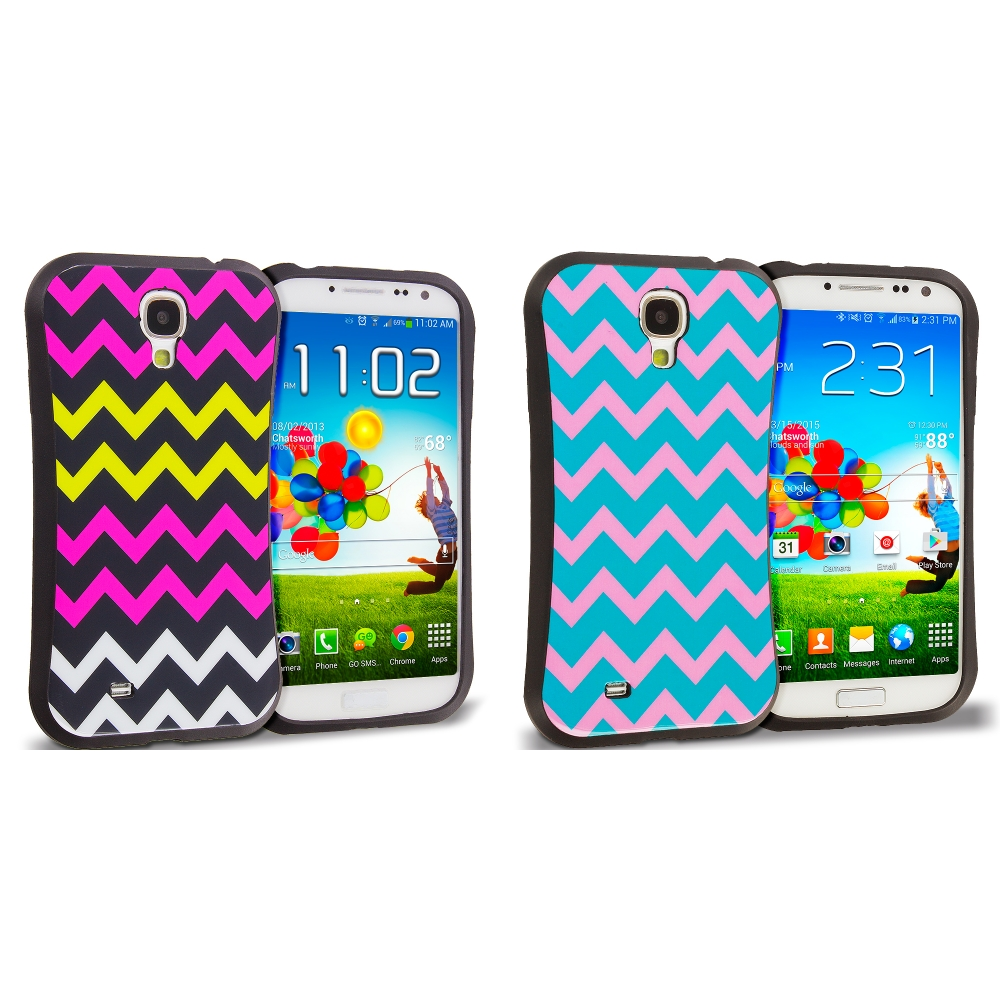 Samsung Galaxy S4 2 in 1 Combo Bundle Pack - Hot pink Blue Wave Hybrid TPU Hard Soft Shockproof Drop Proof Case Cover