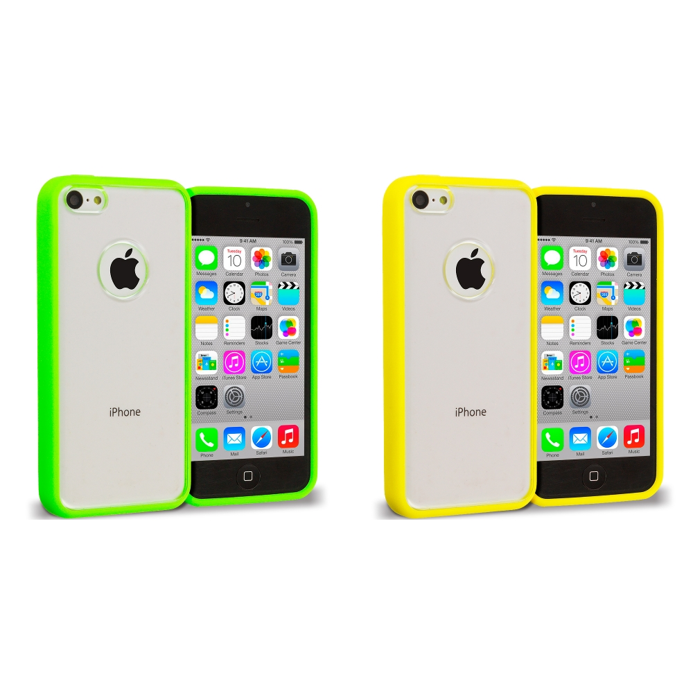 Apple iPhone 5C 2 in 1 Combo Bundle Pack - Yellow Green TPU Plastic Hybrid Case Cover