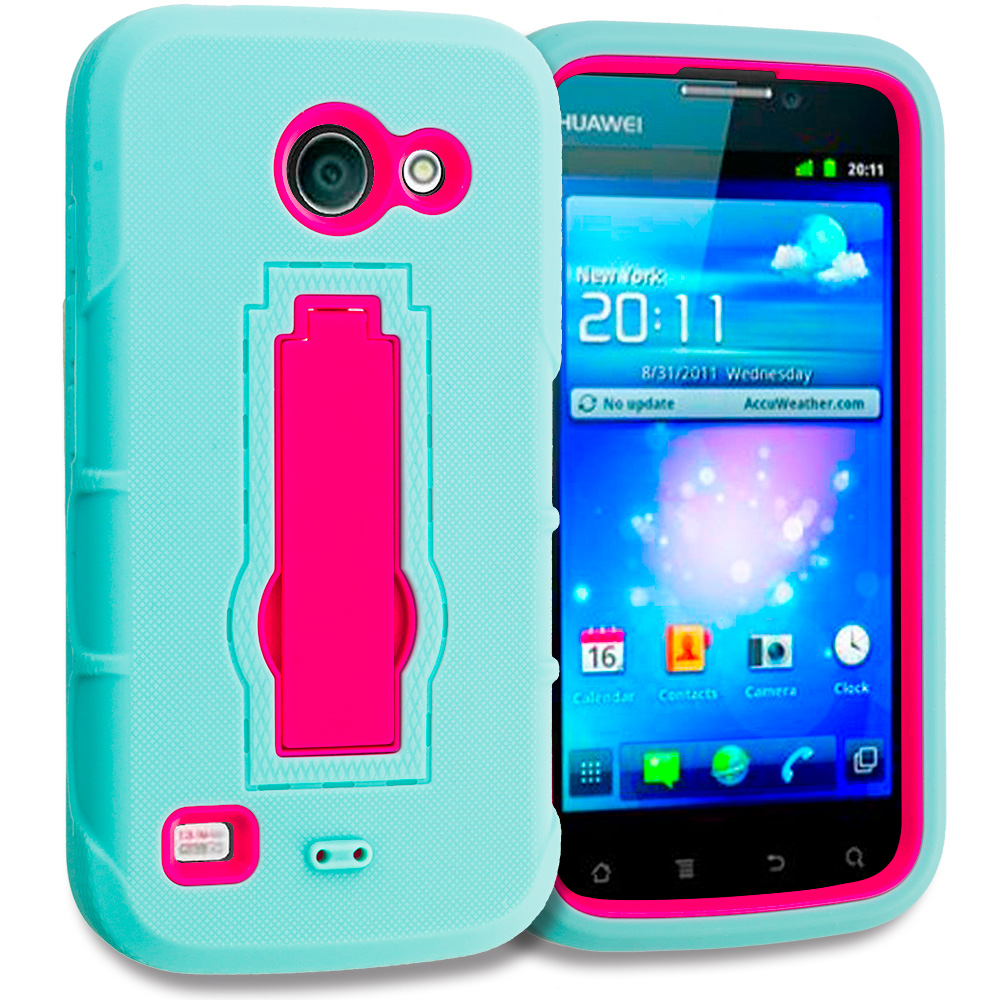 Huawei Tribute Fusion 3 Y536A1 Teal / Hot Pink Hybrid Heavy Duty Hard Soft Case Cover with Kickstand