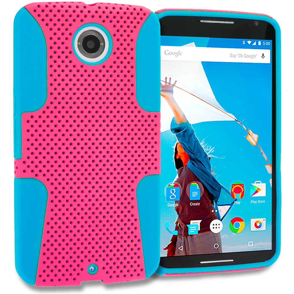 Motorola Google Nexus 6 Baby Blue / Hot Pink Hybrid Mesh Hard/Soft Case Cover