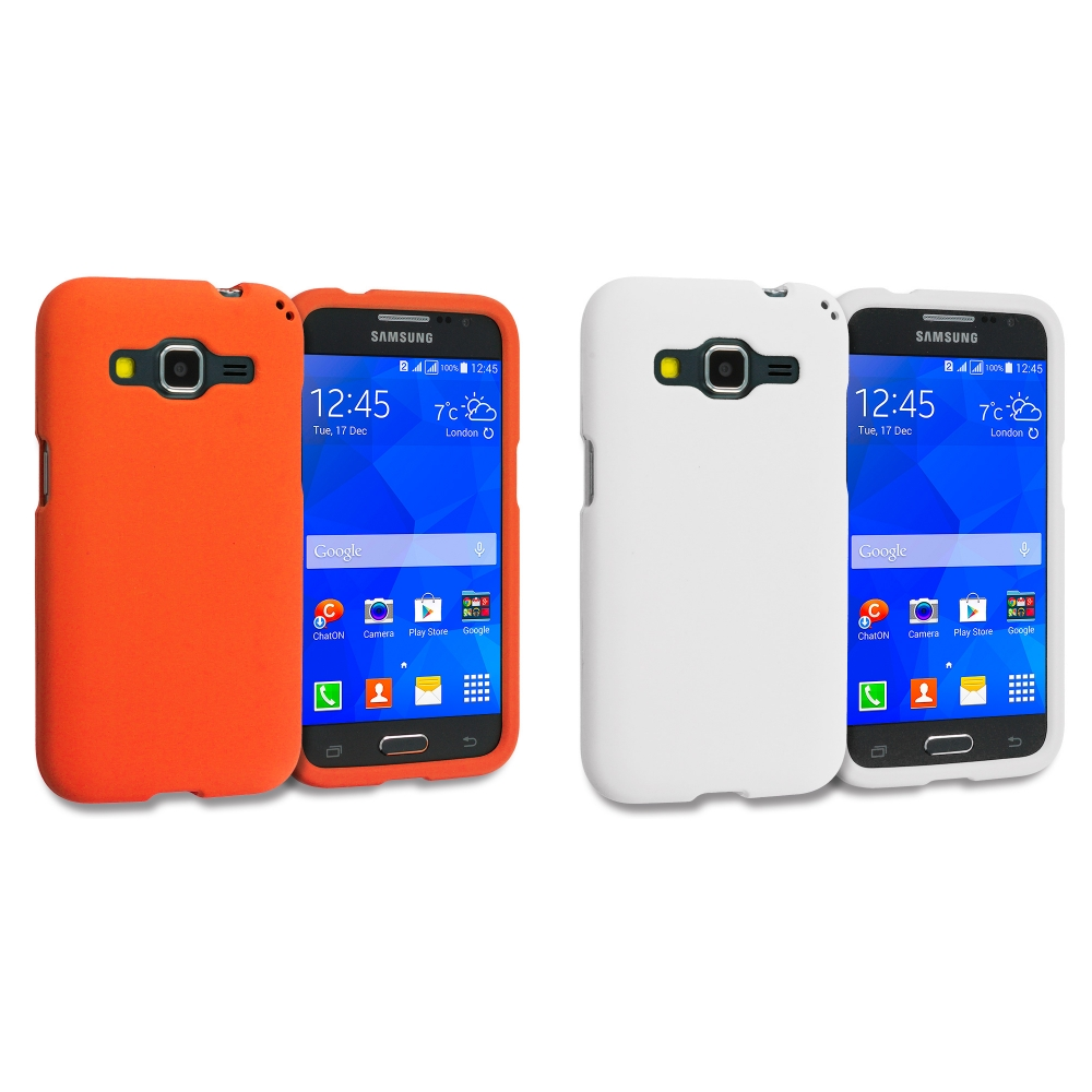 Samsung Galaxy Prevail LTE Core Prime G360P / Prevail LTE 2 in 1 Combo Bundle Pack - White Orange Hard Rubberized Case Cover