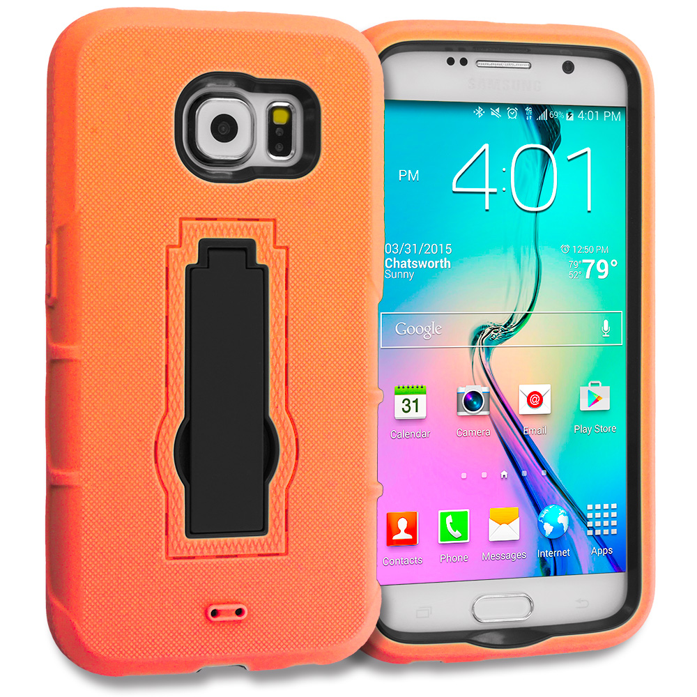 Samsung Galaxy S6 Orange / Black Hybrid Heavy Duty Hard Soft Case Cover with Kickstand