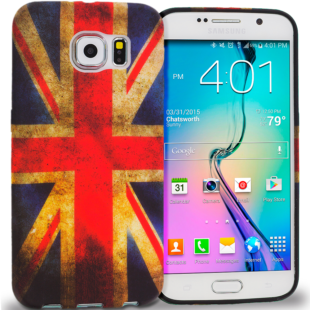 Samsung Galaxy S6 Combo Pack : The Union Flag TPU Design Soft Rubber Case Cover : Color The Union Flag
