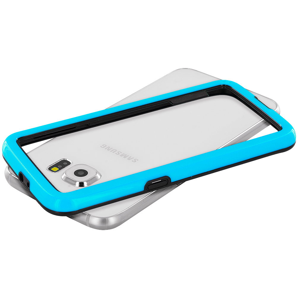 Samsung Galaxy S6 Combo Pack : Baby Blue / Black Hybrid TPU Bumper Case Cover : Color Baby Blue / Black