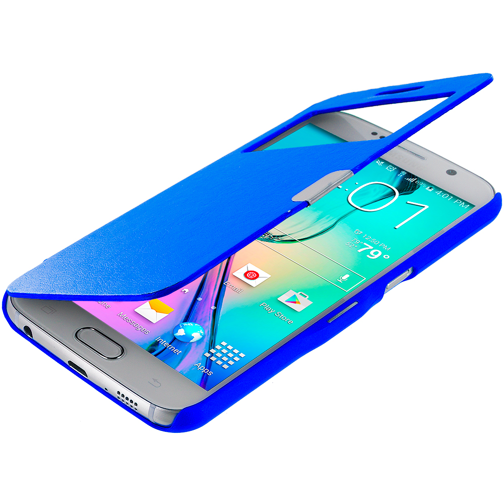 Samsung Galaxy S6 Combo Pack : White Window Magnetic Flip Wallet Case Cover Pouch : Color Blue Window