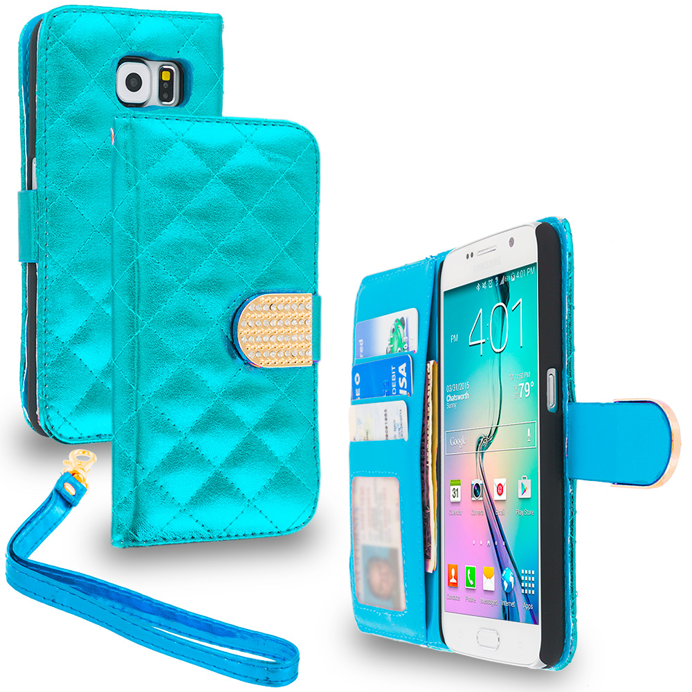 Samsung Galaxy S6 Teal Luxury Wallet Diamond Design Case Cover With Slots