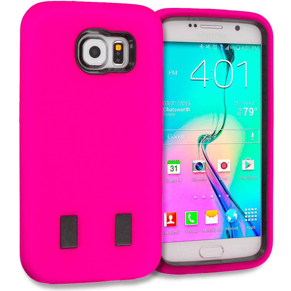 Samsung Galaxy S6 3 in 1 Combo Bundle Pack - Hybrid Deluxe Hard/Soft Case Cover : Color Hot Pink / Black