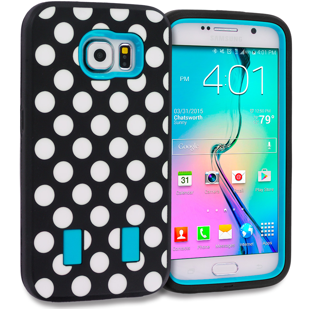 Samsung Galaxy S6 Combo Pack : Polka Dot Baby Blue Hybrid Deluxe Hard/Soft Case Cover : Color Polka Dot Baby Blue