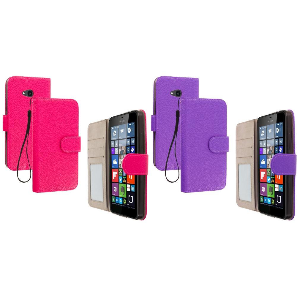 Microsoft Lumia 640 2 in 1 Combo Bundle Pack - Hot Pink Purple Leather Wallet Pouch Case Cover with Slots