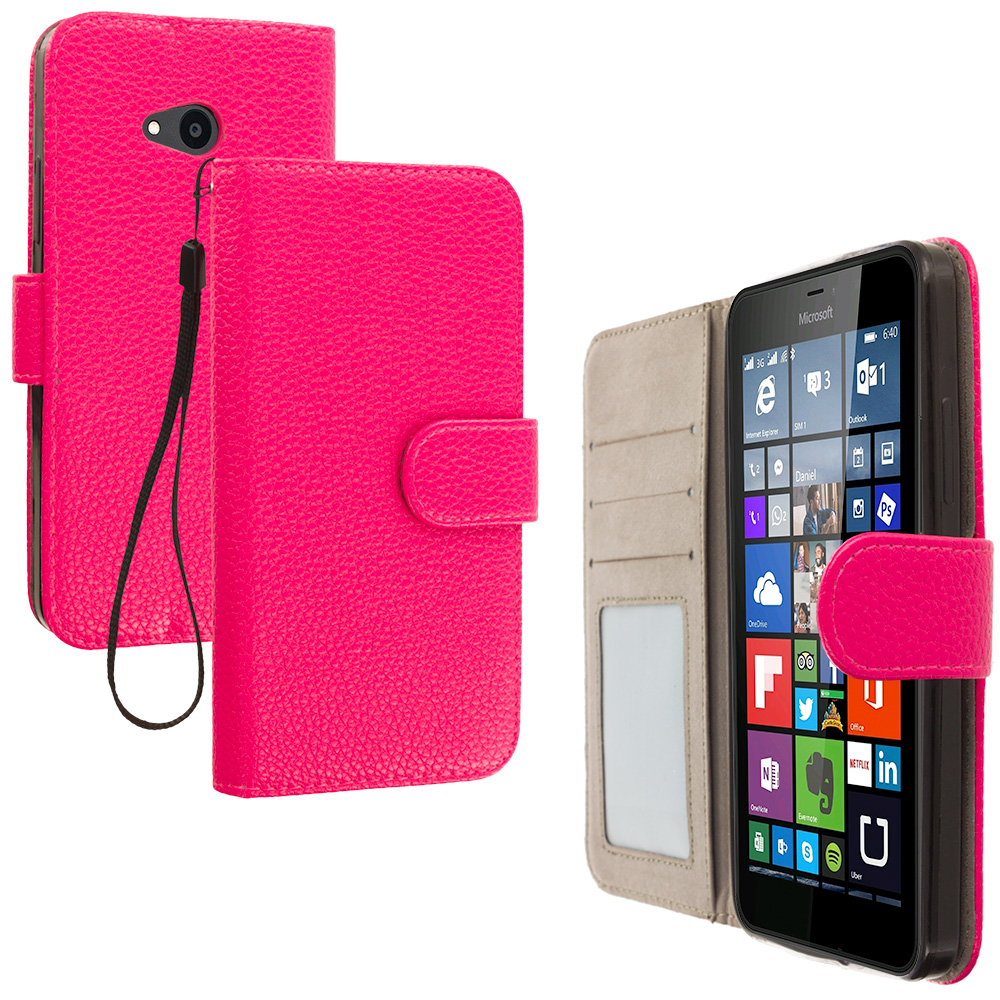 Microsoft Lumia 640 2 in 1 Combo Bundle Pack - Black Pink Leather Wallet Pouch Case Cover with Slots : Color Hot Pink