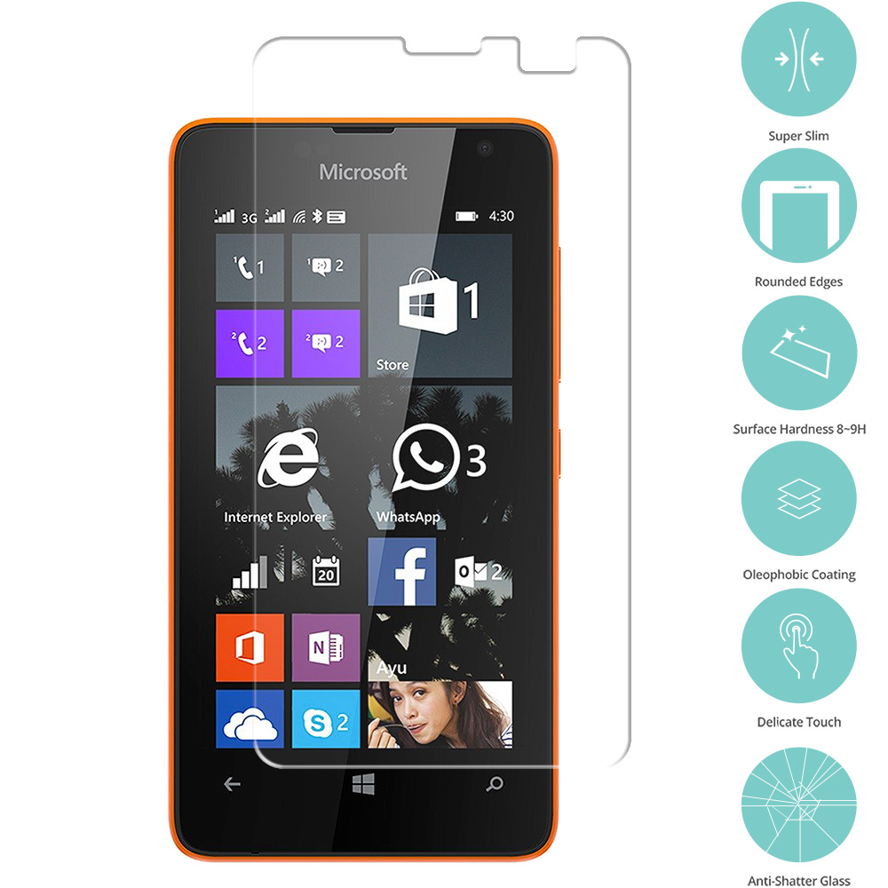 Nokia Microsoft Lumia 430 Clear Tempered Glass Film Screen Protector Clear