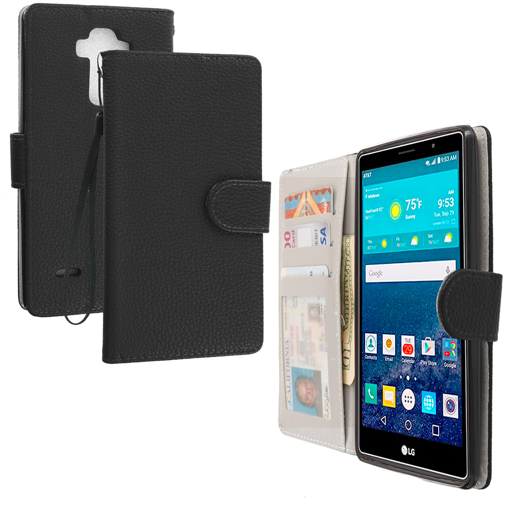 LG G Vista 2 Black Leather Wallet Pouch Case Cover with Slots