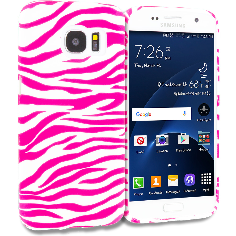 Samsung Galaxy S7 Combo Pack : Pink / White Zebra TPU Design Soft Rubber Case Cover : Color Pink / White Zebra