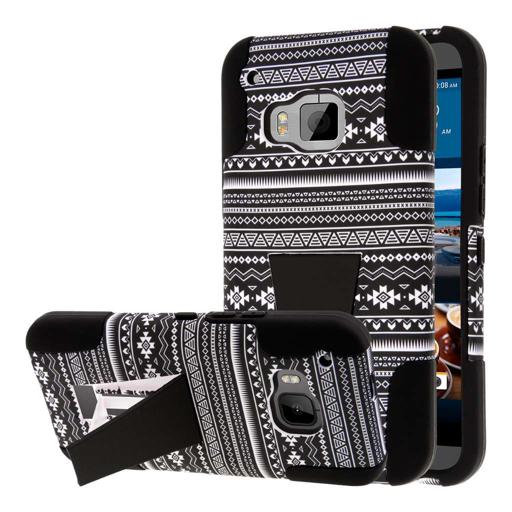 HTC One M9 - Black Aztec MPERO IMPACT X - Kickstand Case Cover