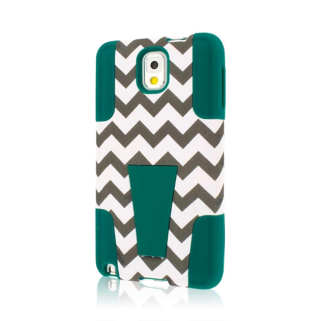 Samsung Galaxy Note 3 - Teal Chevron MPERO IMPACT X - Kickstand Case Cover