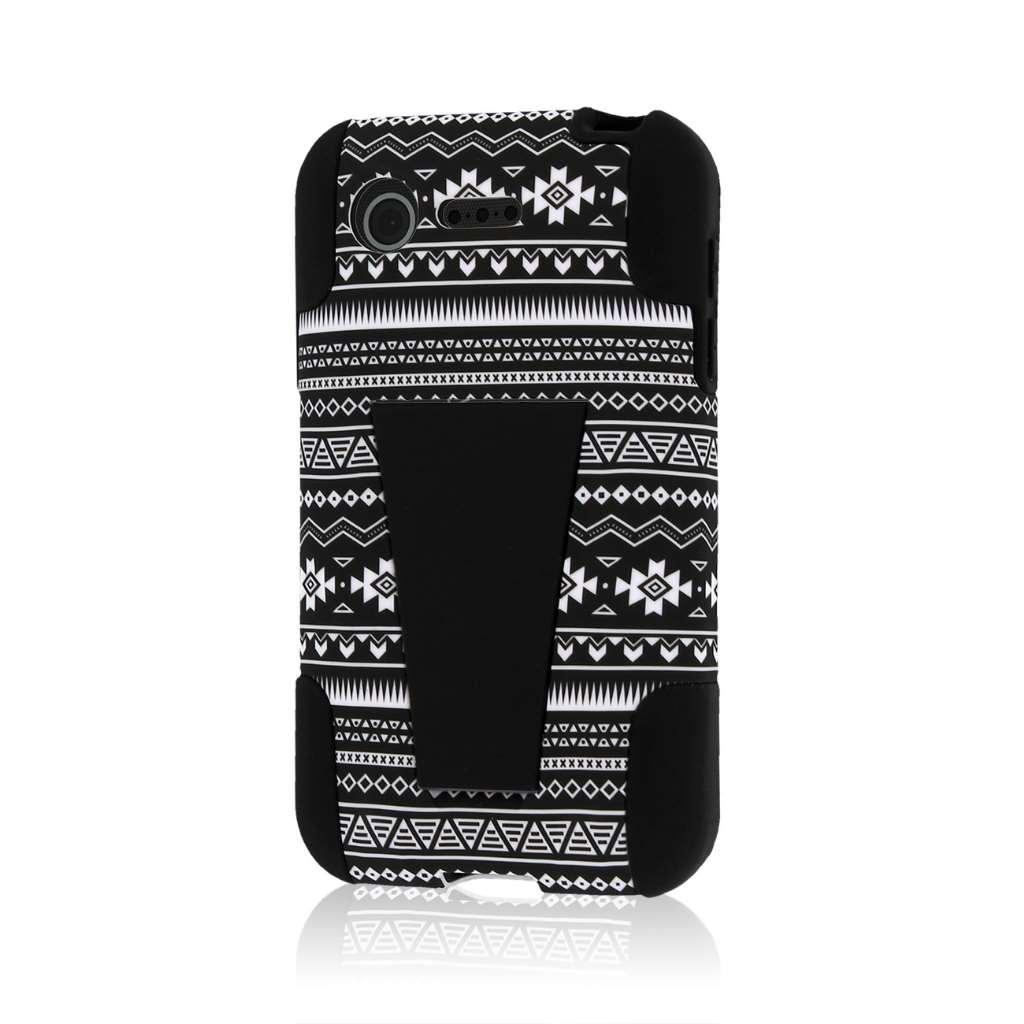 LG Optimus Zone 2 - Black Aztec MPERO IMPACT X - Kickstand Case Cover