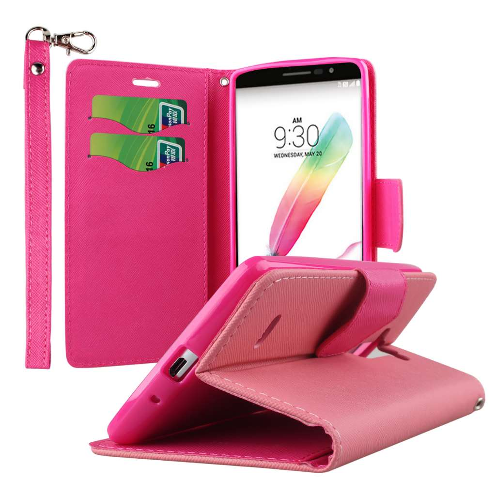 LG G Stylo - Hot Pink MPERO FLEX FLIP 2 Wallet Stand Case Cover